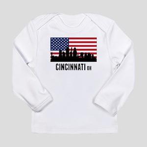 Cincinnati OH American Flag Long Sleeve T-Shirt