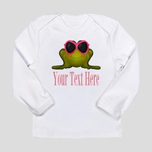 Frog in Pink Sunglasses Custom Long Sleeve T-Shirt