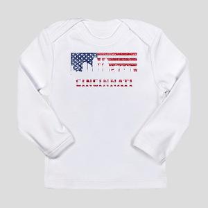 Cincinnati OH American Flag Skyline Long Sleeve T-