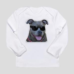 Pitbull in sunglasses Long Sleeve Infant T-Shirt