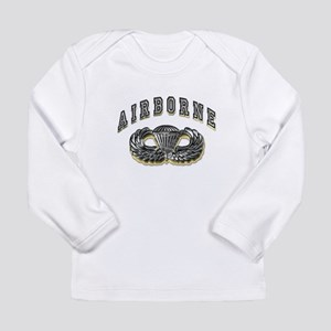 US Army Airborne Wings Silver Long Sleeve Infant T