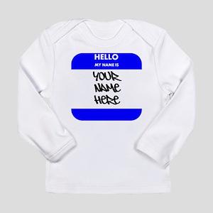 Custom Blue Name Tag Long Sleeve T-Shirt