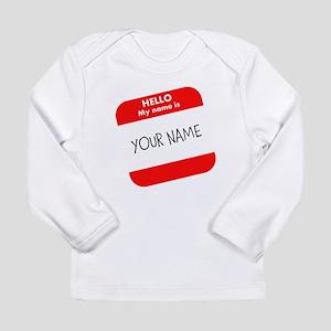 Custom Red Name Tag Long Sleeve T-Shirt