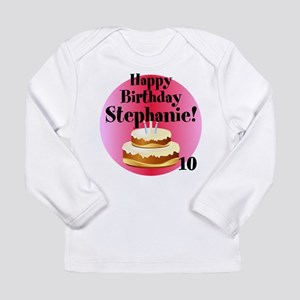 Personalized Name/Age Birthday Cake Pink Long Slee