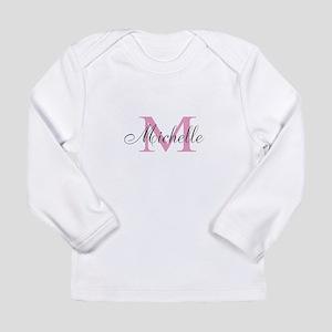 Personalized pink monogram Long Sleeve T-Shirt
