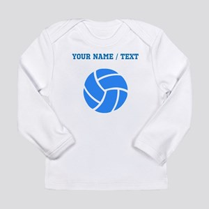 Custom Blue Volleyball Long Sleeve T-Shirt