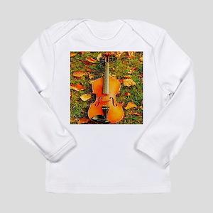 romantic fall leaves violin Long Sleeve T-Shirt