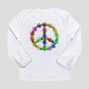 Rainbow Peace Marijuana Leaf Art Long Sleeve Infan