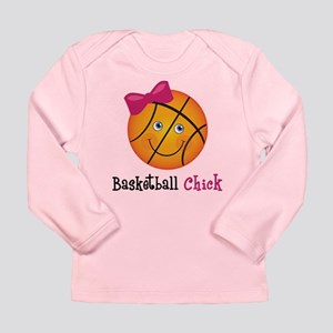 Pink Basketball Chick Long Sleeve Infant T-Shirt