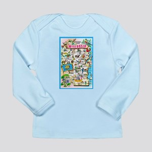 Wisconsin Map Greetings Long Sleeve Infant T-Shirt