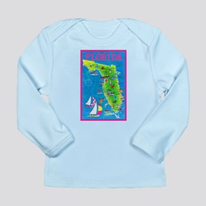 Florida Map Greetings Long Sleeve Infant T-Shirt