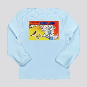 Maryland Map Greetings Long Sleeve Infant T-Shirt