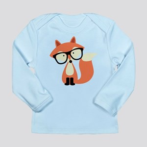 Hipster Red Fox Long Sleeve Infant T-Shirt