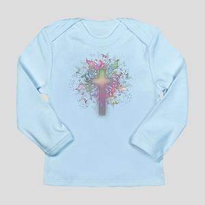 Rainbow Floral Cross Long Sleeve Infant T-Shirt