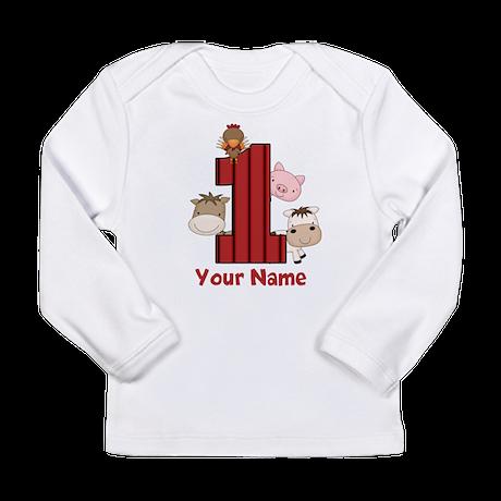 1st Birthday Farm Long Sleeve Infant T-Shirt