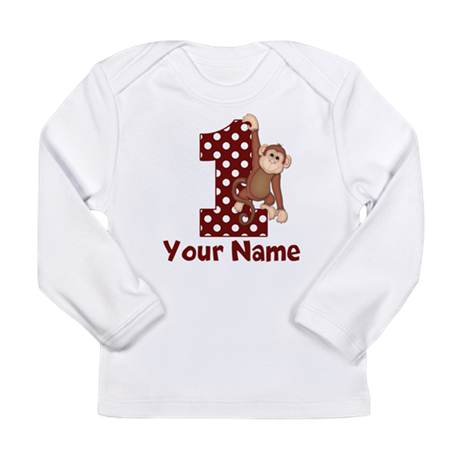 1st Birthday Monkey Red Long Sleeve Infant T-Shirt