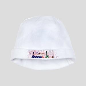 USA FIREWORKS STARS STRIPES LADY LIBERTY baby hat