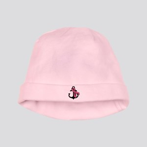 PERSONALIZED Pink Ribbon Anchor baby hat