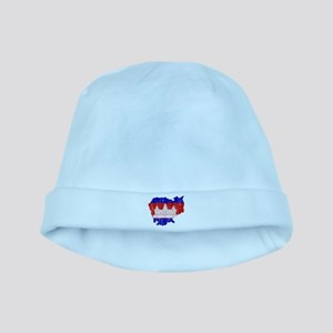 Cambodia Flag And Map baby hat