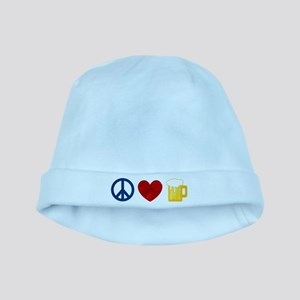 Peace Love Beer baby hat