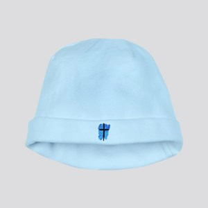 Black Cross on Blue Background baby hat