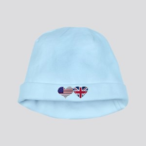 USA and UK Heart Flag baby hat