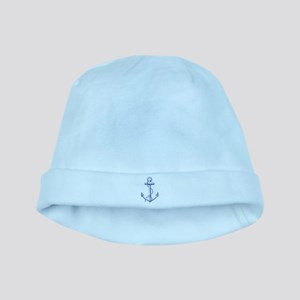 vintage navy blue anchor baby hat