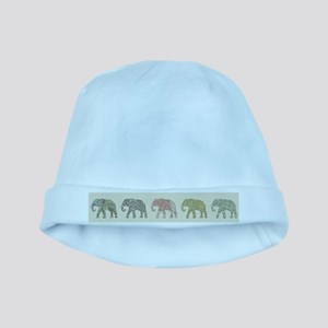 Elephant Colorful Repeating Pattern Decor Baby Hat