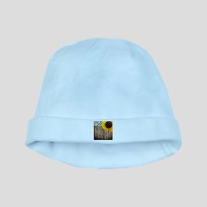 rustic barn yellow sunflower baby hat