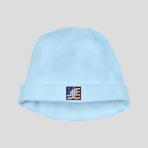 Baseball Ball On American Flag baby hat