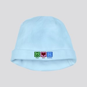 Peace Love Numbers baby hat