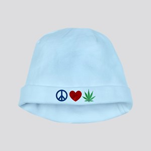 Peace Love Weed baby hat