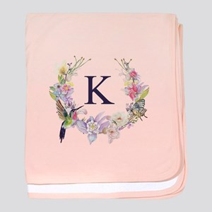 Hummingbird Floral Wreath Monogram baby blanket