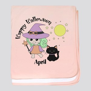 Custom name Halloween witch baby blanket