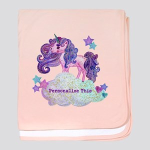 Cute Personalized Unicorn baby blanket