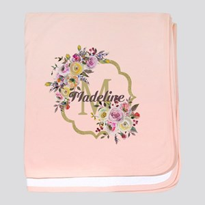 Watercolor Floral Gold Monogram baby blanket