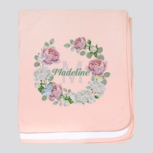 Rose Butterfly Floral Monogram baby blanket
