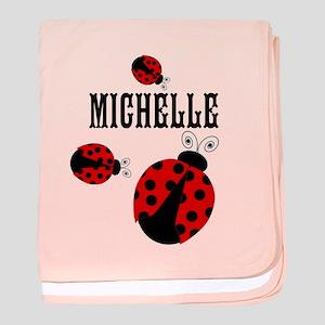 Cute Red | Black Ladybugs Name baby blanket