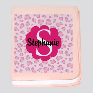 Personalized Pink Name Monogram Gift baby blanket