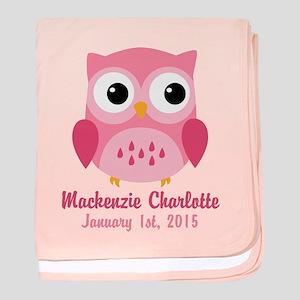 Pink Owl CUSTOM Baby Name Birthdate baby blanket