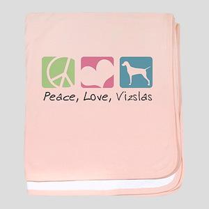 Peace, Love, Vizslas baby blanket