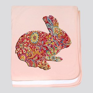 Colorful Floral Easter Bunny baby blanket