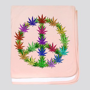 Rainbow Peace Marijuana Leaf Art baby blanket