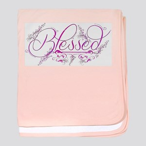 Blessed fuchsia flourish baby blanket