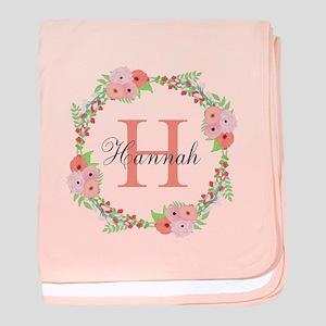 Watercolor Floral Wreath Monogram baby blanket