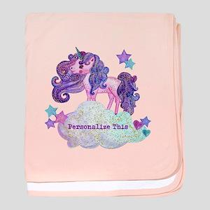 Cute Personalized Unicorn baby blanket