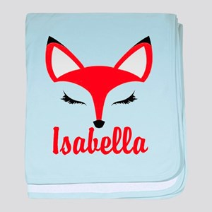Fox face: Personalize name baby blanket