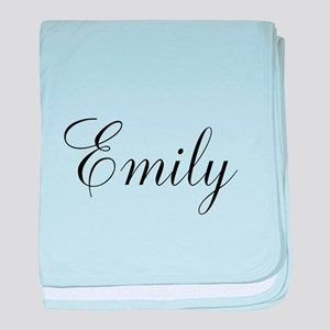 Personalized Black Script baby blanket