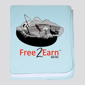 Fishing and Free 2 Earn 4Ever baby blanket