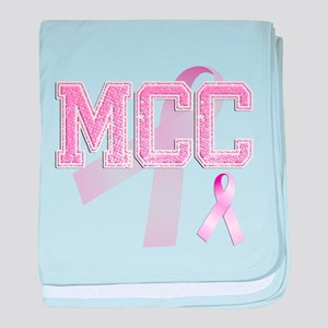 MCC initials, Pink Ribbon, baby blanket